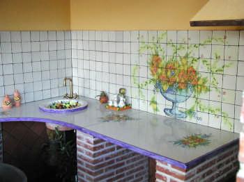 Cucina con top in pietra lavica